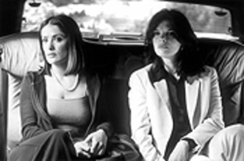 Salma Hayek is an aspiring actress bugged -- literally -- by her jealous lover Jeanne Tripplehorn in Time Code.
