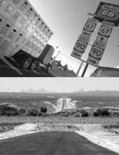 A road runs through it: Big rigs may soon disturb the peace in sleepy Marfa, above, once Mexico completes a highway linking West Texas to western Mexico. Below, pavement for the new highway breaks on either side of the Rio Conchos in the Chihuahuan Desert.