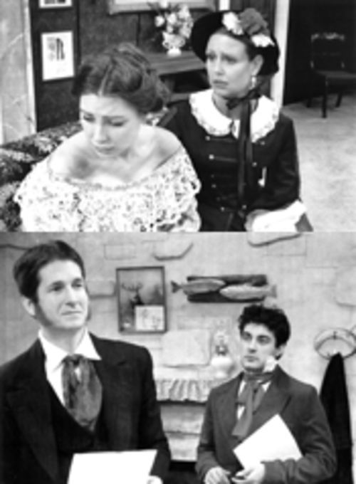 "Top: Heather Child, left, as the title character in The Countess, finally blurts out a sexual secret to empathetic Lady Eastlake (Kristina Baker). Bottom: Stan Graner, left, as stuck-up art critic John Ruskin, and Jeffrey Schmidt, as sex-crazed artist Everett Millais, fight for the affections of ""The Countess."""