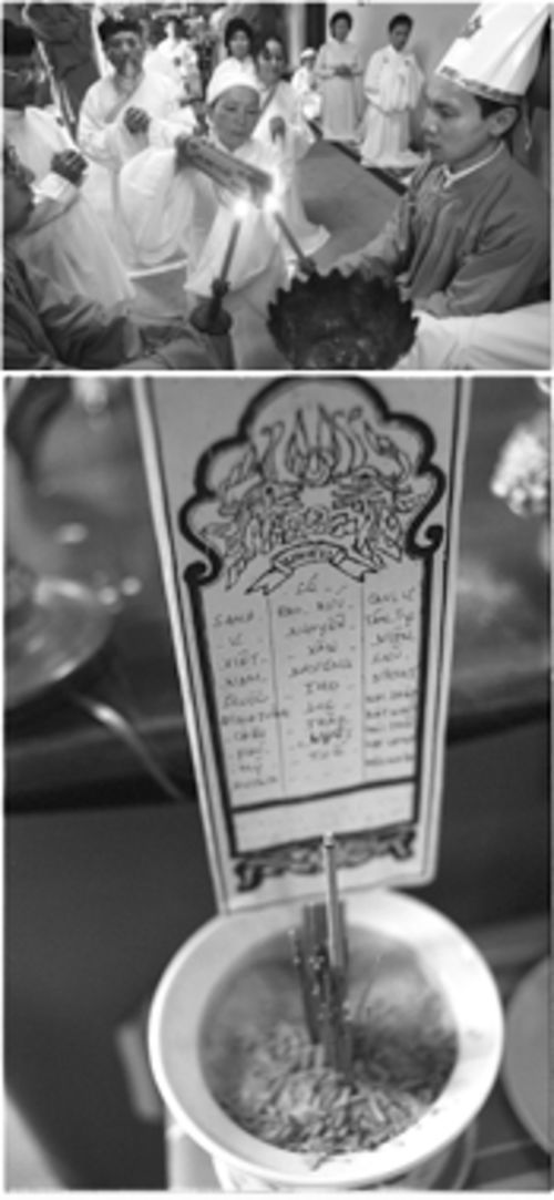 Priestess Muoi Huong Le burns an offering expressing the wish that all people might live as one. Below, incense is burned as an offering to recently deceased friends and family of the faithful, whose names are listed on a card lodged in the vase.