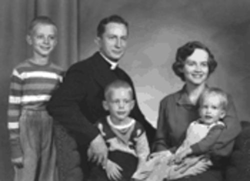 The Schutze brothers, left to right, Bill, Jim and Paul, with their parents, the Reverend W.R. and Peggy, circa 1951