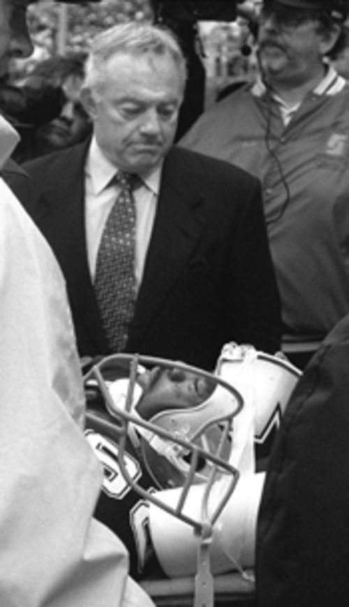 Cowboys boss Jerry Jones was understandably upset as he escorted a temporarily paralyzed Irvin into an ambulance during a Philadelphia Eagles game in 1999.