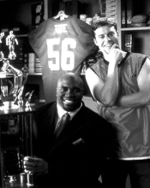 A Terry Tate that Larry Tate would be proud of: Lester Speight, left, and Rawson Thurber tackle the ad world.