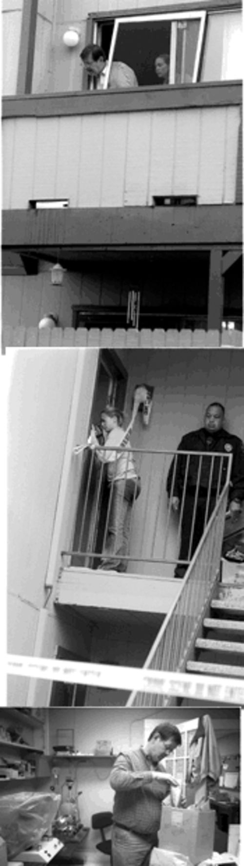 Top: Max Courtney and colleague Candace Horney work the scene of a double murder in Mansfield. Middle: Horney videotapes the entrance to the apartment. Bottom: Courtney at work in his lab in Fort Worth.