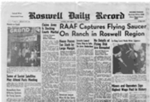 The headline in the Roswell Daily Record announcing the saucer crash couldn�t bump a movie photo off page 1. People were much harder to impress in those days.