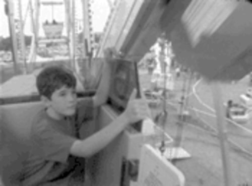 Stone in love: Mark Moskowitz takes a quest-break with his son, Emmett, on a Ferris wheel in Stone Reader.