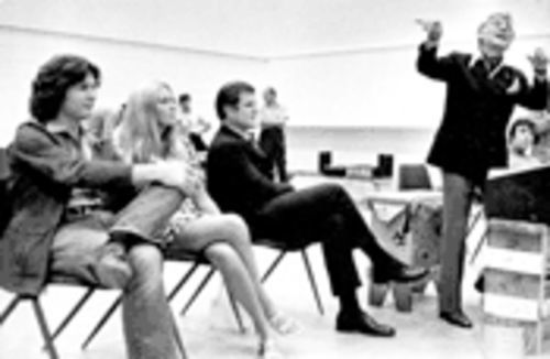 Leonard Bernstein, far right, works on the first performance of MASS.