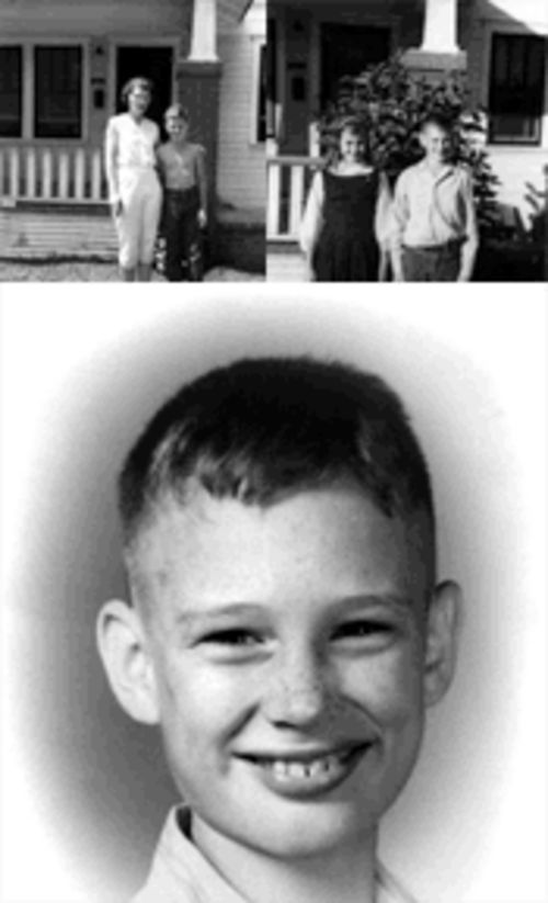 Billy Bodenheimer's last school photo, bottom, from 1958; above, Billy with  his mother Doris and his sister Elaine.  Billy was 12 when  he was murdered and stuffed in an icebox.