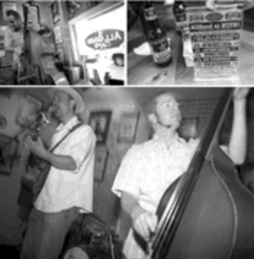 Friday-night happy hour at the AllGood: Max Stalling and upright bassist Aden Bubeck play to a packed crowd.