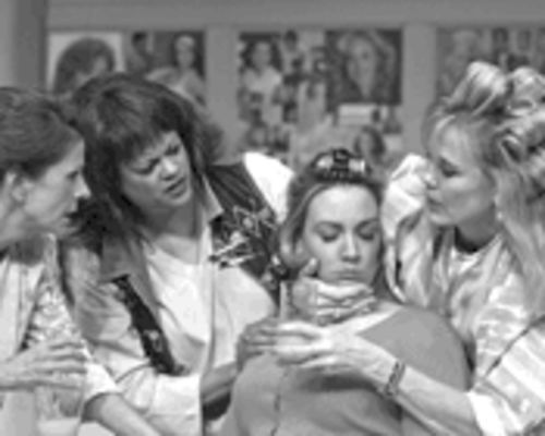 Shelby has a seizure at Miss Truvy's: left to right, Ouida White, Tippi Hunter, Stephanie Young and Sue Loncar.