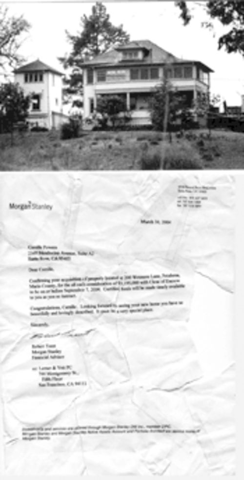 "A glimpse of Bridewell's ""Promised Land Farms,"" a $3.2  million property in Marin County where she wanted to  establish her ""ministry."" Bottom: a letter she forged in an  attempt to close on the purchase."