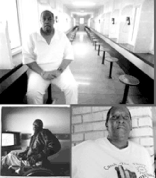 Andre Lewis, top, is off Death Row now, trying to adjust to life without a Grim Reaper over his shoulder. His father, Odell, bottom left, died in 1994 after years of abusing his children. Ruth Sims, bottom right, hasn't spoken with Andre in three years.