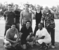 A gay men's amateur softball team--featuring, among others, Dean Cain, bottom center, and Frasier's John Mahoney, far right--is the focus of The Broken Hearts Club.