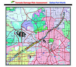 For this theoretical scenario, a North Texas Council of Governments researcher traced the path of an actual tornado&amp;#151;the one that hit near Oklahoma City on May 3, 1999&amp;#151; over a land-use map of the Dallas-Fort Worth area. Its path through Arlington grows to a mile wide, but narrows as it cuts through Irving, Dallas and Richardson. The numbers along the track indicate the F-scale damage levels of the Oklahoma twister.