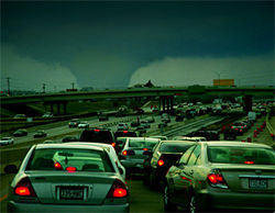 A large, violent tornado approaches a crowded Highway 183 in Irving. Not really! It's a photo composition presented at the 2006 Texas Severe Storms Association's national conference to demonstrate the risk the Dallas-Fort Worth area faces from a major tornado strike.