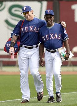 AL Most Valuable Player Josh Hamilton with manager Ron Washington.