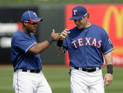Josh Hamilton with All-Star third baseman Adrian Beltre: The Rangers are relying on Hamilton&#039;s and Beltre&#039;s bats to launch them into the playoffs.