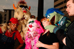 Keeping their hands in: M. Denise Lee, Megan Kelly Bates, James Chandler and their furry, foulmouthed puppets in Theatre Too's local premiere of Avenue Q.