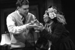 Sherry Boone, as Eliza Doolittle (pictured with Martin Kildare as Henry Higgins) can do the low comedy, but she can't carry off the cockney accent in My Fair Lady.