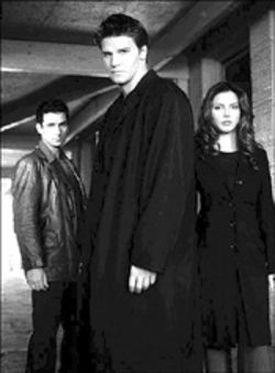 The late Glen Quinn, from left, David Boreanaz and Charisma Carpenter hunt evil in L.A. Like that's hard?