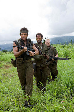 Is that all you got? Ben Stiller, Robert Downey Jr. in blackface and Jack Black don't bring their big guns to the Hollywood parody Tropic Thunder.
