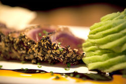 Sesame-seared ahi tuna with wasabi mashed potatoes—Artin's brings understated sophistication to the Shops at Legacy.