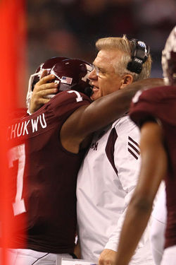 Aggies head coach Mike Sherman consoles his players after a loss to LSU -- a feeling they should get used to.