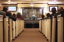 A funeral service in one of the chapels inside Golden Gate