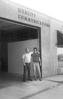 Randy Angle, left, and Richard Youngblood in 1984, the year Angle began his radio business.