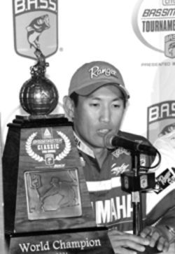Omori told his story to the press after his Bassmaster Classic win.