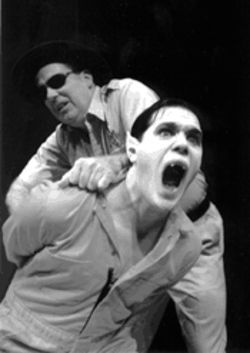 Taking a bite out of crime: Tom Lenaghen plays the sheriff who locks up fanged cave-dweller Robert Brewer in Bat Boy: The Musical.