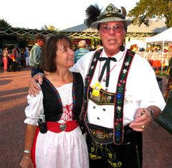 Fredericksburg Oktoberfest director Debbie Farquhar-Garner and festival MC, Allen Spouspa.