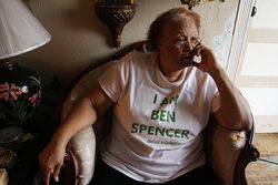 Lucille Spencer waits for her son Benjamine to walk out of prison.