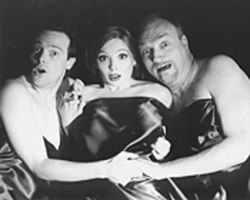 Mark Shum, Ambre Low, and Terry Dobson make strange bedfellows in Theatre Three's intermittently funny staging of Christopher Durang's most famous play.