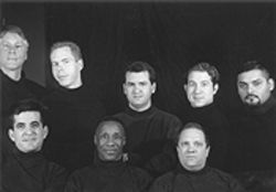 (Top row, from left) Jack Droitcourt, Lou Taylor, Todd Camp, Brian Keith Rhodes, Juan Alfaro and (bottom row, from left) Lon D. Barrera, Keith Smith, and Gary Payne are the boys in the band in Mart Crowley's landmark play.