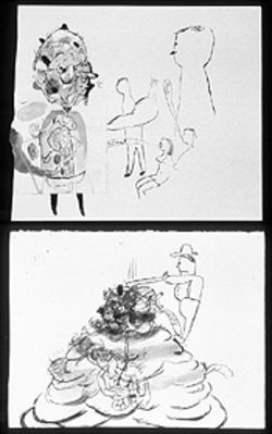 "Trenton Hancock's acrylic-on-paper narratives, among them ""For My Next Trick I'll..."" (top, 1998) and ""A Vile Pile Poof"" (1998), provoked some acrimony among the local art crowd."