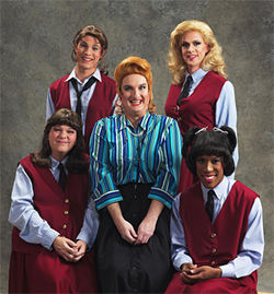 A parody of the '80s sitcom The Facts of Life, whose plot turns on four male actors in full drag turning tricks for a boarding school fund-raiser: OMG
