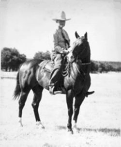 "O.W. ""Dad"" Cardwell, a one-armed West Texan who ran his spread and his family with a stern hand, was known for his skill as a polo player; he rode with the reins in his teeth."