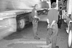 At a chekpoint north of Laredo, a trucker is caught with three undocumented immigrants in his cab.