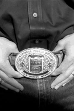 Paulo Crimber, showing off the championship buckle he won last year