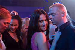 Simon Pegg's another redeemed jerk—here with Megan Fox—in How to Lose Friends...