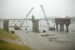 Work on the Margaret Hunt Hill Bridge was halted by high water on the Trinity River. Is it just us, or is that sort of ironic?