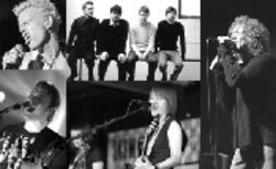 Clockwise from left: Billy Idol, The Futureheads, Robert  Plant, Tegan and Sara, and The Doves
