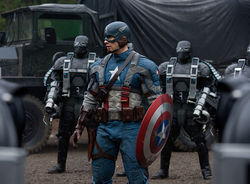 Captain America Chris Evans pauses en route to the set of The Avengers.