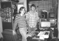 """It's like another person in the band,"" says Lauren Gray, left, of the dot-matrix printer that provides some of the band's beats. Gray is one-half of Tree Wave, along with boyfriend Paul Slocum, right."