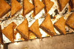 The dessert counter was filled with buttery, flaky baklava, which when paired with Hershey's syrup in Cedars Mediterranean Mezza's specialty, seemed too Americanized.