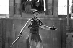 "If you're sure: Russell Crowe raises his hands to tell the world, ""I am Sparti...er, Maximus!"""