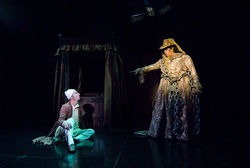 Chamblee Ferguson's Scrooge is chastened by Liz Mikel's Ghost of Jacob Marley in DTC's spectacular A Christmas Carol.