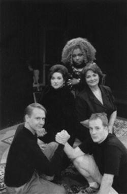 Clockwise from top: Liz Mikel, Sally Soldo, Michael Turner, Christopher Gleason and Julie Johnson enact the disintegration of two families in Theatre Three's  uneven staging.