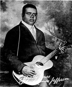 Why is 1920s Texas blues legend Blind Lemon Jefferson shown here? Read (and listen to) our Dallas Music Matters series at Unfair Park to find out.